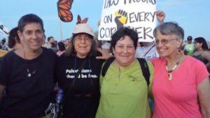 Lena Rothman (Tucson), Deborah Mayaan (Tucson), Elaine Cohen (Austin), Beth Harris (Ithaca) outside Eloy detention center. Photo by Moji Agha