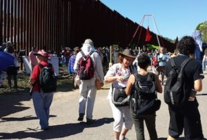 The march arrives at the wall - US side photo by Deborah Mayaan